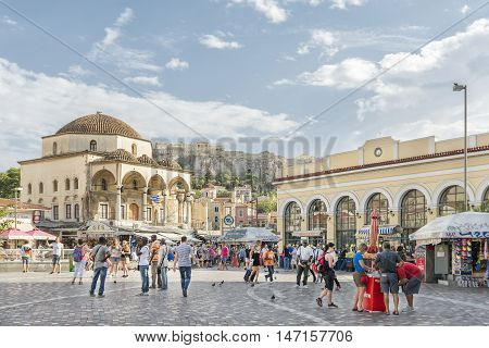 ATHENS, GREECE, SEPTEMBER 8,2016: Wide angle view of Monastiraki Square,  a flea market neighborhood in the old town of Athens, Greece, and is one of the principal shopping districts in Athens.