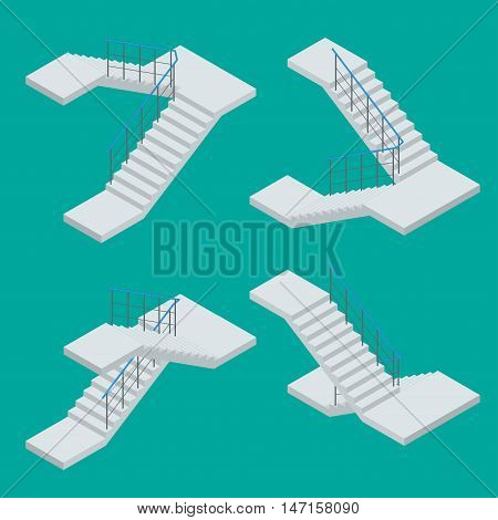 Isometric staircase. Vector Set of various staircase on the white background.