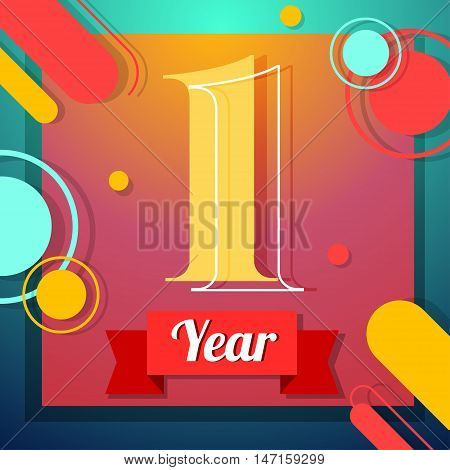 One year anniversary logo template with red ribbon vector color swsign template