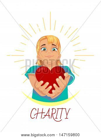 icon child with a heart in the hands for the design for charity care and support