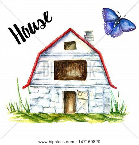 Watercolor of a blue barn house on a white background. Blue barn farm with green grass and blue butterfly.