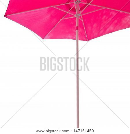 Pink beach parasol margin isolated on white.