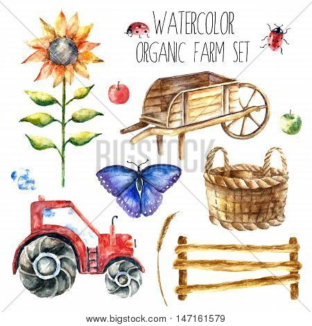 Watercolor organic farm. Hand drawn objects: tractor, sunflower, truck, fence, basket, butterfly, ladybug and spica isolated on white background.