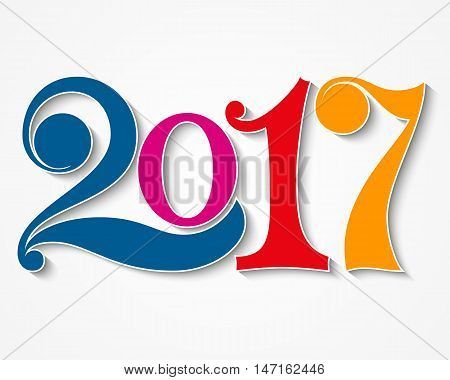 Happy new year 2017. Year 2017 vector design element. Text Design vector