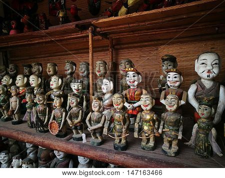 Vietnamese water puppets for its famous water puppet theater on shop in Hanoi's Old Quarter