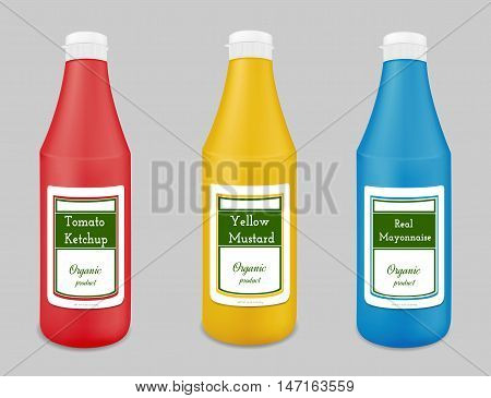Plastic bottle for ketchup sauce mustard mayonnaise.