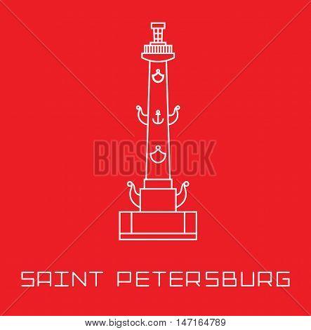 Saint-Petersburg Rostral column vector line art illustration isolated on red background