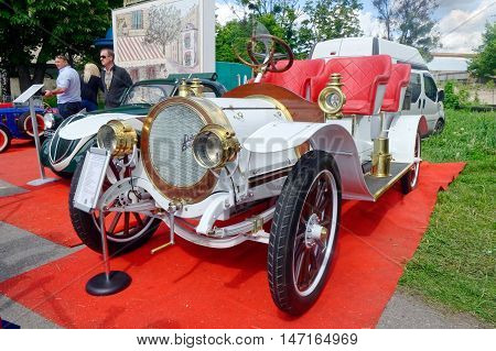 Kharkiv Ukraine - May 22 2016: Retro car white Delaunay-Belleville 20CV manufactured between 1905 and 1908 is presented at the festival of vintage cars Kharkiv Retro Rally - 2016 in Kharkiv Ukraine on May 22 2016