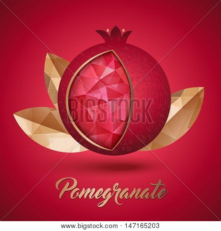 Ripe red pomegranate fruit with three golden leaves vector illustration. Seeds inside like polygons crystal.