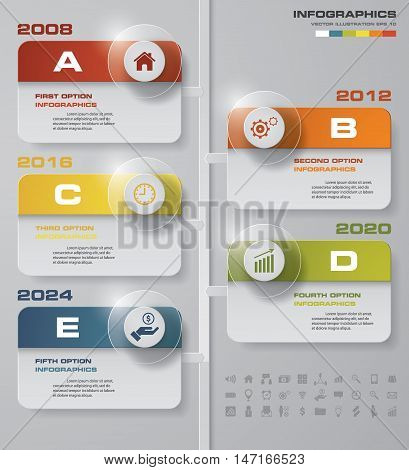 Vertical timeline description. 5 steps timeline infographic for business design