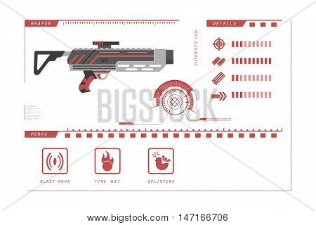 Details of gun: grenade. Game perks. Virtual reality weapon. Vector illustration