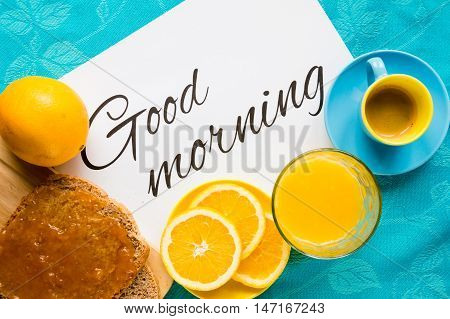 Good morning with orange juice bread and jam coffee