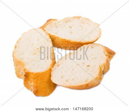 Bread the cut baguette isolated d d