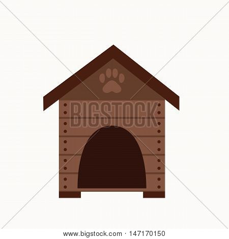 Dog house flat icon. Vector pet dog house illustration. Concept of cartoon dog house. Colorful dog house icon for your design. Flat cartoon dog house isolated.