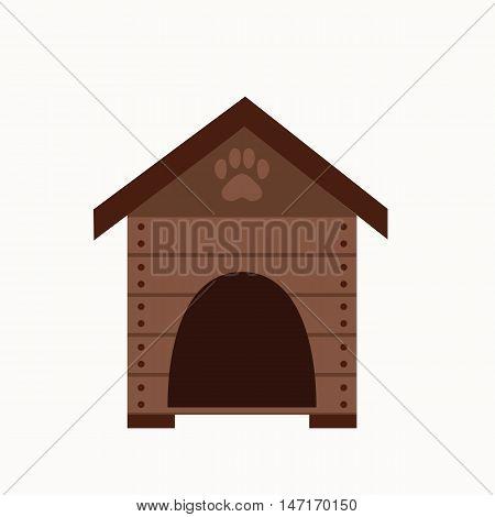 Dog house flat icon. Vector pet dog house illustration. Concept of cartoon dog house. Colorful dog house icon for your design. Flat cartoon dog house isolated.