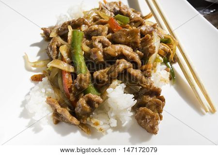 Chinese food - stir fry meat with vegetables sauce