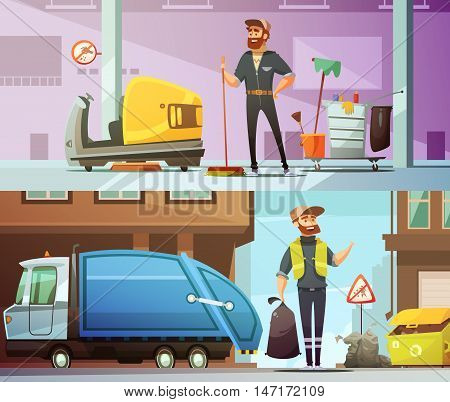 Professional cleaning and garbage collecting service at work 2 horizontal cartoon banners set abstract isolated vector illustration