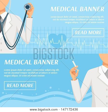 Health care medical banners webpage design with general practitioner doctor and heart rate symbol isolated vector illustration