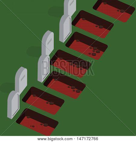grave yard empty cemetery stones vector