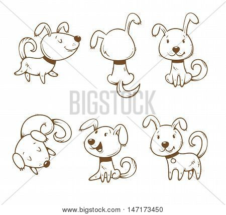 Cute cartoon dogs set. Six little puppies in different poses. Funny animals. Vector  contour image no fill. Children's illustration.