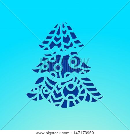 Christmas tree. Laser cutting template pumpkin for Happy New Year. Cutting file. Lettering silhouette pattern. Die Cut vector. Cardmaking. EasyPrintPD