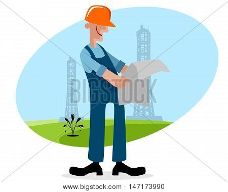 Vector illustration of a oilman with plan