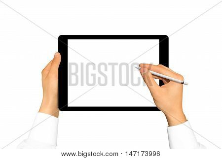 Hand holding stylus near graphic tablet blank screen. Empty tab display mock up isolated. Designer drawing, painting, sketching. New digitizer pencil presentation. Black tablet touchscreen mockup.