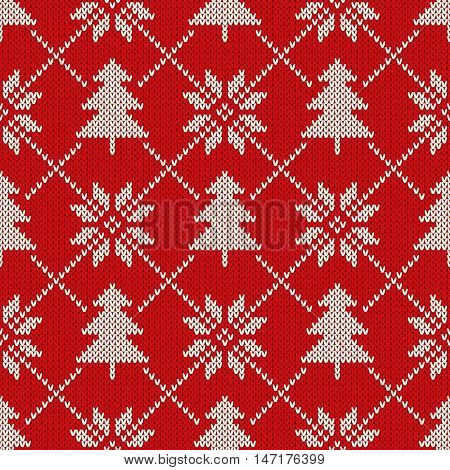 Winter Holiday Seamless Knitting Pattern with a Christmas Trees and Snowflakes. Knitted Sweater Design