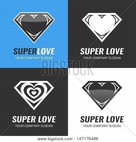 Logo Set of hearts. Super love. Vector