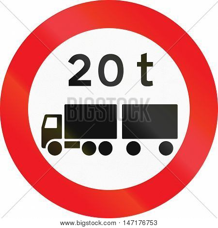 Road Sign Used In Denmark - No Vehicles Or Combination Of Vehicles Exceeding 20 Tonnes
