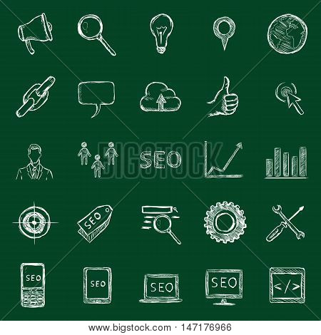 Vector Set Of Chalk Seo Icons