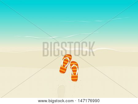 Sand beach with flip flops vector illustration, flat cartoon flipflop on sand near sea with footprint top view, sea coast and sand beach from above poster