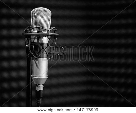 Professional condenser studio microphone, Musical Concept.black and white photo. vintage photos
