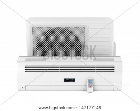 Air conditioner on white background, 3D illustration