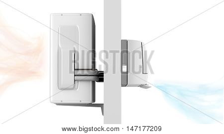 Indoor and outdoor units of split system air conditioner blowing cold and hot air, 3D illustration