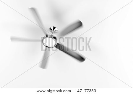 Spinning ceiling fan in the room, 3D illustration