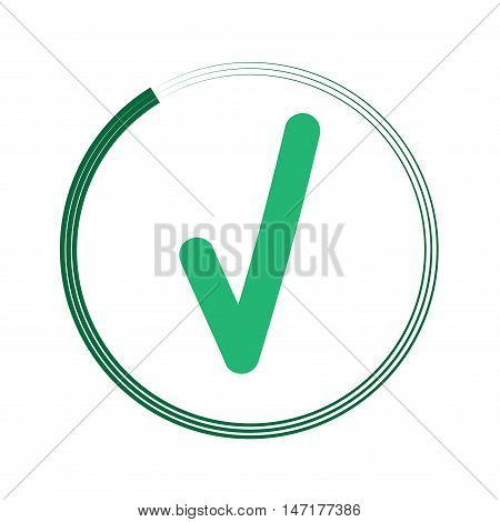 Tick green sign in green circle. Isolated on white background. Symbol correct in green circle. Positive marks. Agree choice sticker. Flat vector image. Vector illustration