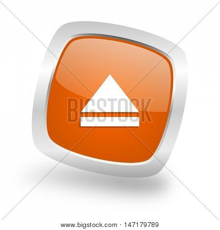 eject square glossy orange chrome silver metallic web icon