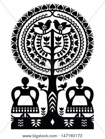 Polish monochrome folk art pattern paper cutting