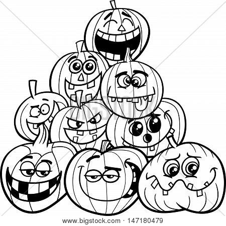Halloween Pumpkins Coloring Page