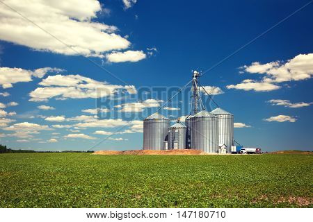 Farm tin silos storage towers in green crops landscape view