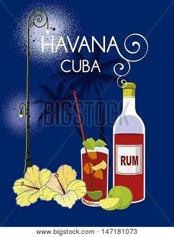 Havana Cuba image with bottle of rum and night background with palms and focus lighting