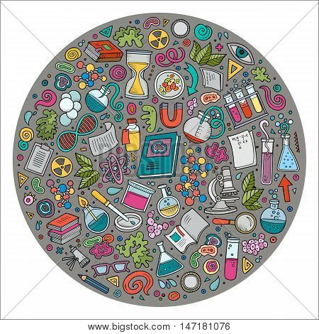 Colorful vector hand drawn set of Science cartoon doodle objects, symbols and items. Round composition