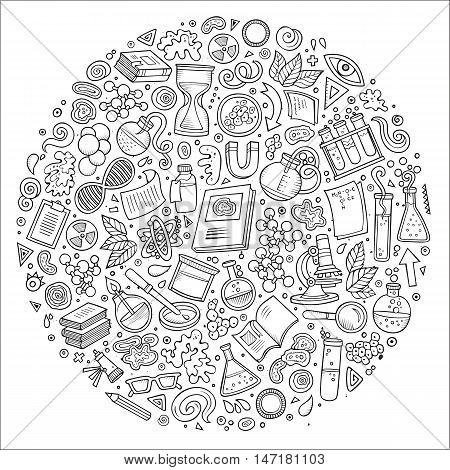 Line art vector hand drawn set of Science cartoon doodle objects, symbols and items. Round composition