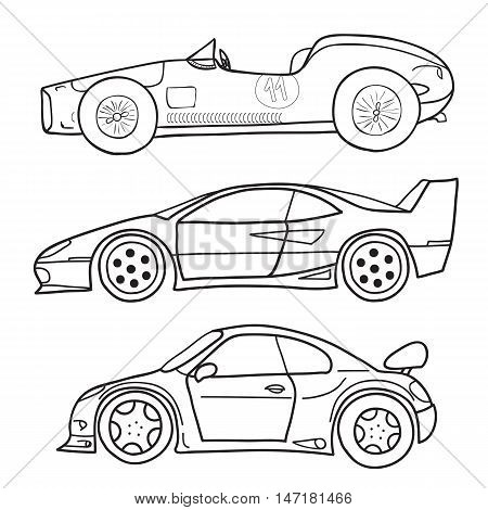 Vector doodle old and new cars from a side view on a white background