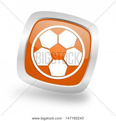 soccer square glossy orange chrome silver metallic web icon