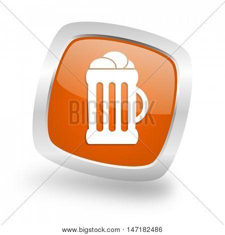beer square glossy orange chrome silver metallic web icon
