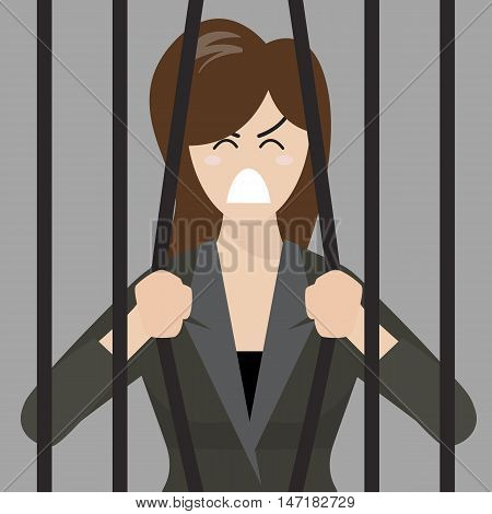 Business woman try to escape from prison. Business concept
