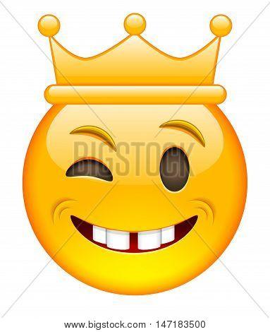 Eyewink Face with Crown. Eyewink Emoji with Crown. Eyewink Smile Emoticon with Crown. Isolated vector illustration on white background