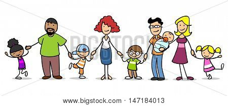 Cartoon patchwork family with many children holding hands